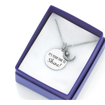 STERLING SILVER CUBIC ZIRCONIA TIME TO SHINE PENDANT